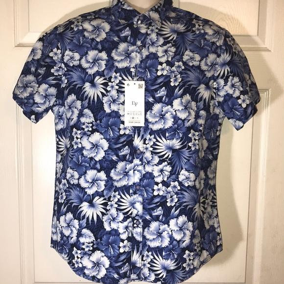 82336c235dc Denim   flower Slim Fit medium blue floral shirt